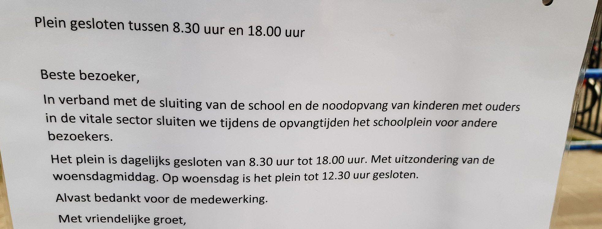 Maatregelen rond het coronavirus op de schoolpleinen, foto gemaakt door Roland de Jong, Historisch Centrum Overijssel